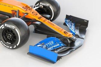 McLaren MCL35, dettaglio dell'ala anteriore