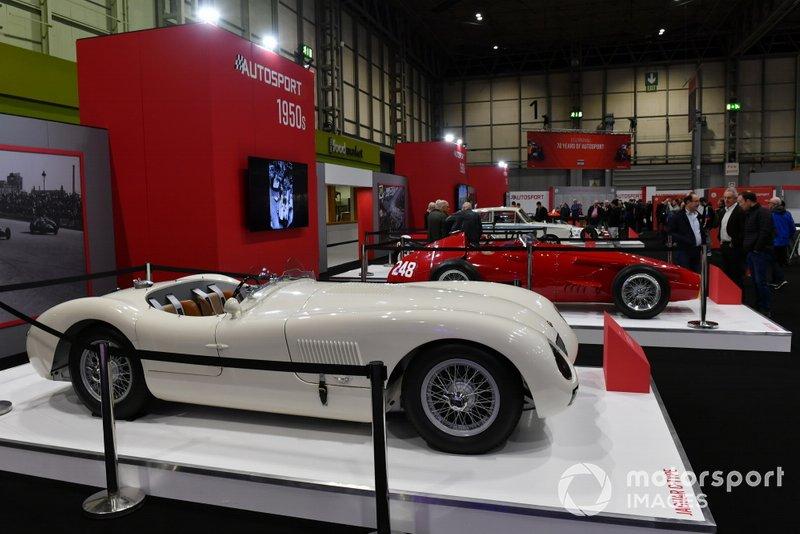 A Jaguar C-Type on the Autosport stand