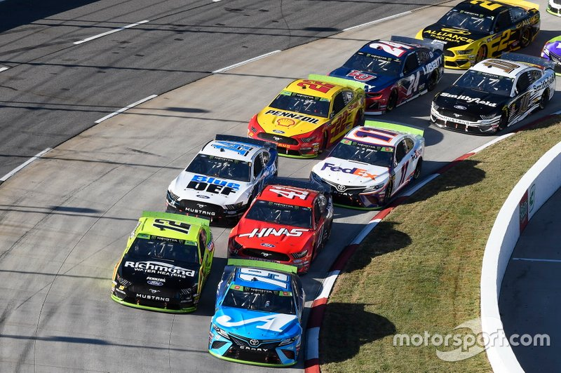Martin Truex Jr., Joe Gibbs Racing, Toyota Camry Auto Owners Insurance, Ryan Blaney, Team Penske, Ford Mustang Menards/Richmond, Daniel Suarez, Stewart-Haas Racing, Ford Mustang Haas Automation, Clint Bowyer, Stewart-Haas Racing, Ford Mustang BlueDEF