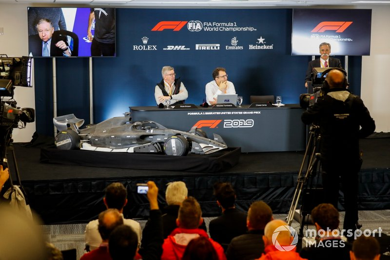 Ross Brawn, Managing Director of Motorsports, FOM, Chase Carey, Chairman, Formula 1 and Nikolaz Tombazi unveil the 2021 Formula 1 regulations in a press conference. Jean Todt, President, FIA, listens in via video