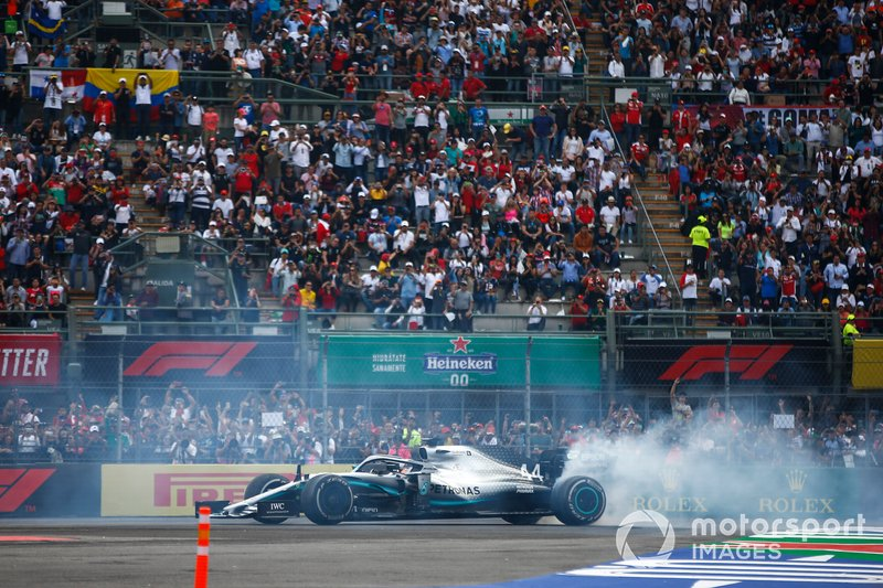 Lewis Hamilton, Mercedes AMG F1 W10, 1st position, celebrates with donuts after the race