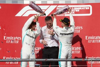 World champion Lewis Hamilton, Mercedes AMG F1, celebrates on the podium with Valtteri Bottas, Mercedes AMG F1 and James Allison, Technical Director, Mercedes AMG