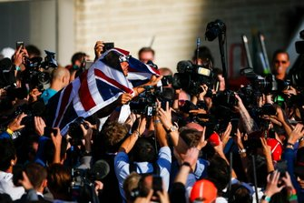 Lewis Hamilton, Mercedes AMG F1, 2nd position, celebrates after securing his 6th world drivers championship title