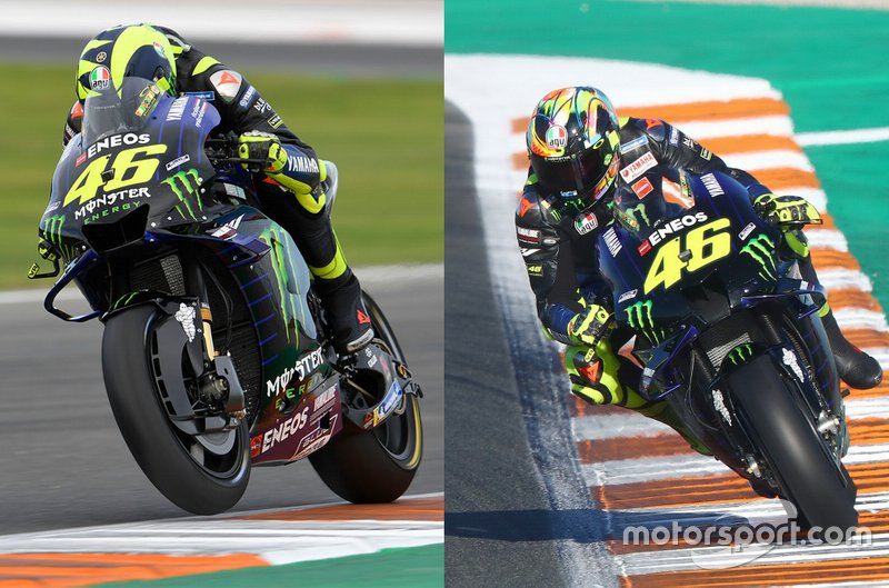 Vergelijking van de fairing en luchtinlaat op de motor van Valentino Rossi, Yamaha Factory Racing
