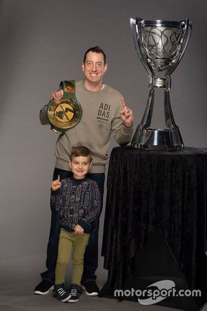 Kyle Busch and son Brexton with WWE 24/7 championship
