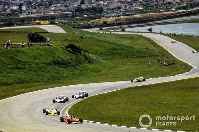 Gilles Villeneuve, Ferrari, Jean-Pierre Jabouille, Renault, Didier Pironi, Ligier, Jacques Laffite, Ligier, René Arnoux, Renault