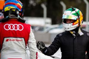 Loic Duval and Andy Priaulx shake hands a the ROC Skills Challenge