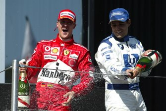 Podium: Race winner Michael Schumacher, Ferrari, third place Juan Pablo Montoya, Williams