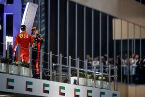 Sebastian Vettel, Ferrari and Max Verstappen, Red Bull Racing celebrate on the podium