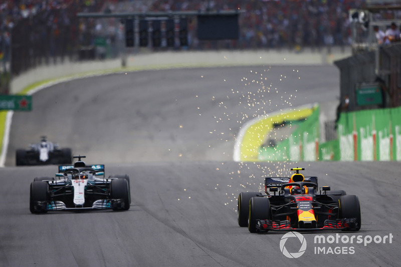 Max Verstappen, Red Bull Racing RB14, leads Lewis Hamilton, Mercedes AMG F1 W09 EQ Power+