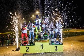 Podio (da sx a dx): Mattia Pasini e Lorenzo Baldassarri, Valentino Rossi e Franco Morbidelli, Dennis Foggia e Federico Fuligni