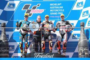 Joan Mir, Marc VDS Racing Aki Ajo, Director del equipo Ajo Motorsport, Brad Binder, Red Bull KTM Ajo Xavi Vierge, Dynavolt Intact GP