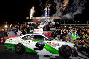 Tyler Reddick, JR Motorsports, Chevrolet Camaro BurgerFi celebrates after winning