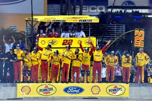 Joey Logano's, Team Penske, Ford Fusion Shell Pennzoil crew members celebrate the race win and the Monster Energy Cup Championship