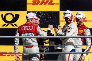 Podium: Winnaar René Rast, Audi Sport Team Rosberg, nummer twee Robin Frijns, Audi Sport Team Abt Sportsline en nummer drie Timo Glock, BMW Team RMG