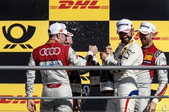 Podium: Race winner René Rast, Audi Sport Team Rosberg, second place Robin Frijns, Audi Sport Team Abt Sportsline and third place Timo Glock, BMW Team RMG