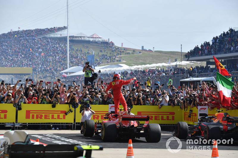 Race winner Kimi Raikkonen, Ferrari SF71H celebrates in Parc Ferme