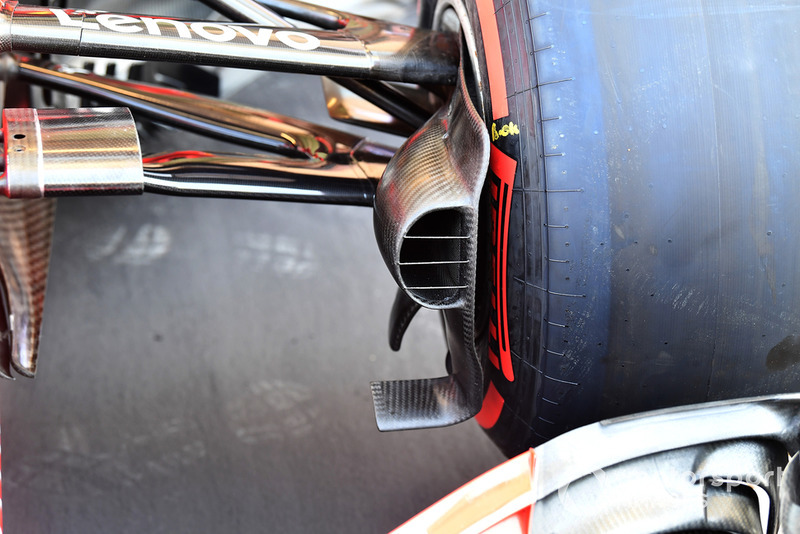 Ferrari SF71H detalle del conducto del freno delantero