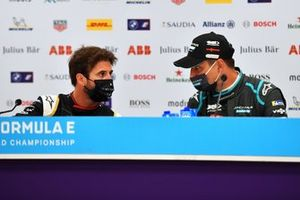 Antonio Felix Da Costa, DS Techeetah, 1st position, chats with Mitch Evans, Jaguar Racing, 3rd position, in the Press Conference