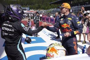 Lewis Hamilton, Mercedes, congratulates pole man Max Verstappen, Red Bull Racing, in Parc Ferme