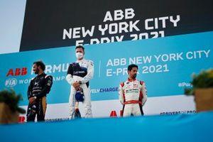Jean-Eric Vergne, DS Techeetah, second position, Maximilian Guenther, BMW I Andretti Motorsport, first position, Lucas Di Grassi, Audi Sport ABT Schaeffler, third position, on the podium