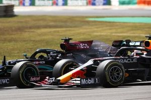 Lewis Hamilton, Mercedes W12, battles with Max Verstappen, Red Bull Racing RB16B