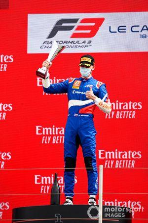 Race Winner Alexander Smolyar, ART Grand Prix celebrates on the podium with the trophy