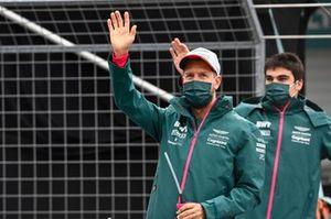 Sebastian Vettel, Aston Martin, and Lance Stroll, Aston Martin, at the drivers parade