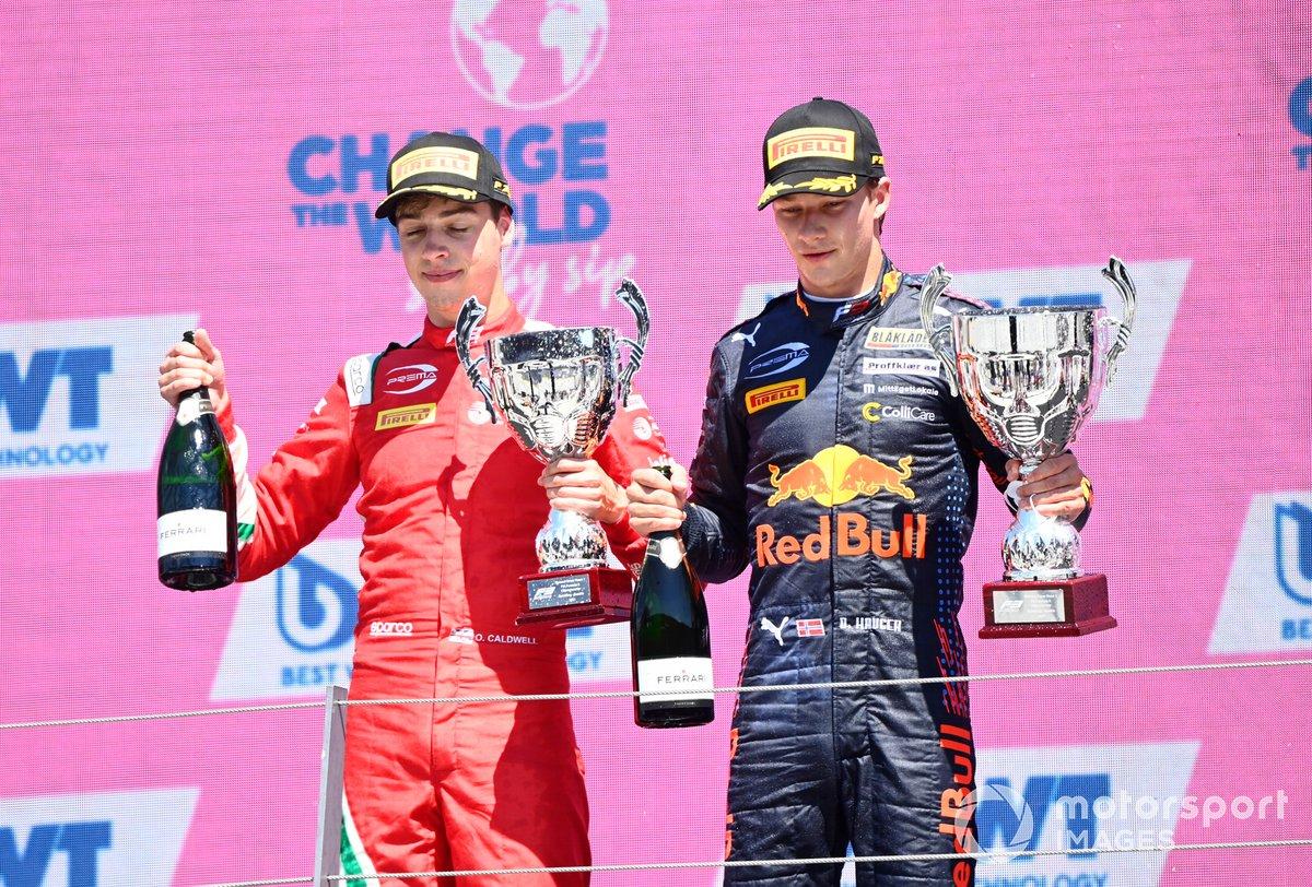 Ganador Dennis Hauger, Prema Racing, segundo lugar Olli Caldwell, Prema Racing