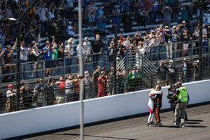 Helio Castroneves, Meyer Shank Racing Honda celebrates his victory, Juan Pablo Montoya, Arrow McLaren SP Chevrolet