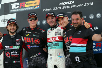 Podium: Race winner Jean-Karl Vernay, Leopard Lukoil Team Audi RS3 LMS TCR, second place Josh Files, Hell Energy Racing with KCMG Honda Civic Type R TCR, third place Attila Tassi, Hell Energy Racing with KCMG Honda Civic Type R TCR, Giovanni Altoè, Pit Lane Competizioni Audi RS3 LMS TCR