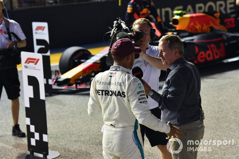 Pole sitter Lewis Hamilton, Mercedes AMG F1 talks with Martin Brundle, Sky TV in parc ferme
