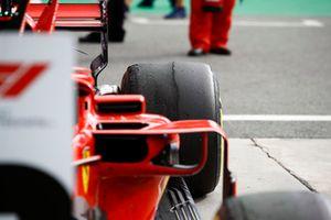 Back right tyre of Kimi Raikkonen, Ferrari SF71H in parc ferme