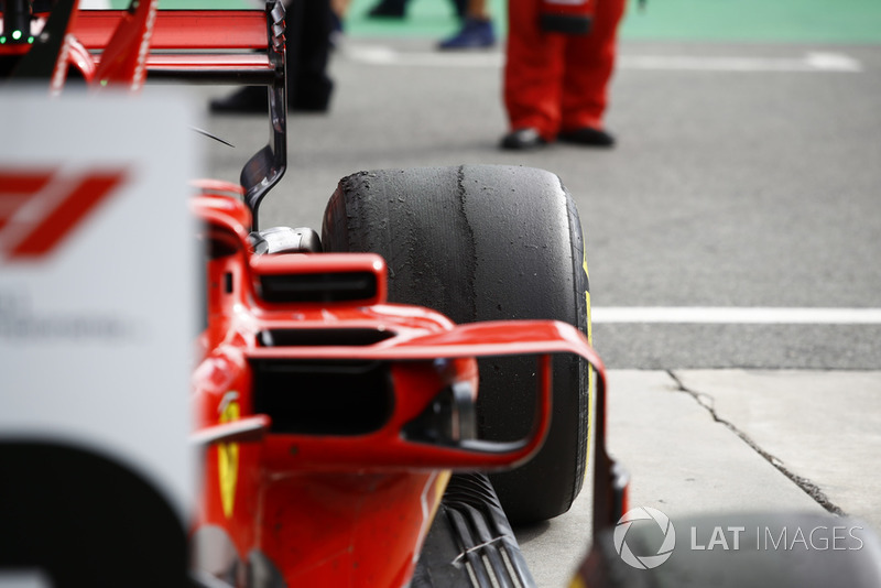 Left-rear tyre of Kimi Raikkonen, Ferrari SF71H in parc ferme