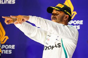 Lewis Hamilton, Mercedes AMG F1, 1st position, celebrates on the podium