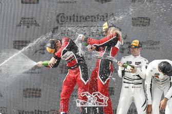 #48 Paul Miller Racing Lamborghini Huracan GT3, GTD - Madison Snow, Bryan Sellers, #58 Wright Motorsports Porsche 911 GT3 R, GTD - Patrick Long, Christina Nielsen, #63 Scuderia Corsa Ferrari 488 GT3, GTD - Cooper MacNeil, Alessandro Pier Guidi, podium, champagne