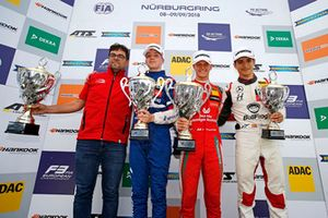 Podium: Race winner Mick Schumacher, PREMA Theodore Racing Dallara F317 - Mercedes-Benz, second place Robert Shwartzman, PREMA Theodore Racing Dallara F317 - Mercedes-Benz, third place Alex Palou, Hitech Bullfrog GP Dallara F317 - Mercedes-Benz
