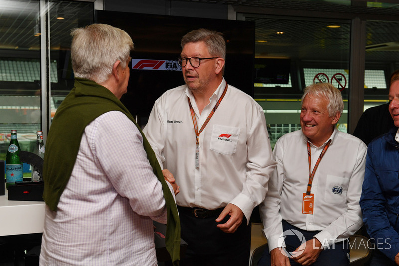 Roger Benoit, Journalist at F1 Hall of Fame with Ross Brawn, Formula One Managing Director of Motorsports and Charlie Whiting, FIA Delegate