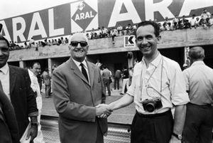 John Blunsden shakes hands with Enzo Ferrari