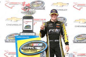 Justin Haley, GMS Racing, Chevrolet Silverado Fraternal Order Of Eagles celebrates in victory lane