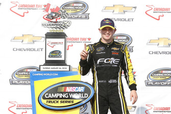 Justin Haley, GMS Racing, Chevrolet Silverado Fraternal Order Of Eagles celebrates in victory lane
