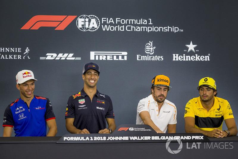 Pierre Gasly, Scuderia Toro Rosso Toro Rosso, Daniel Ricciardo, Red Bull Racing, Fernando Alonso, McLaren and Carlos Sainz Jr., Renault Sport F1 Team in the Press Conference