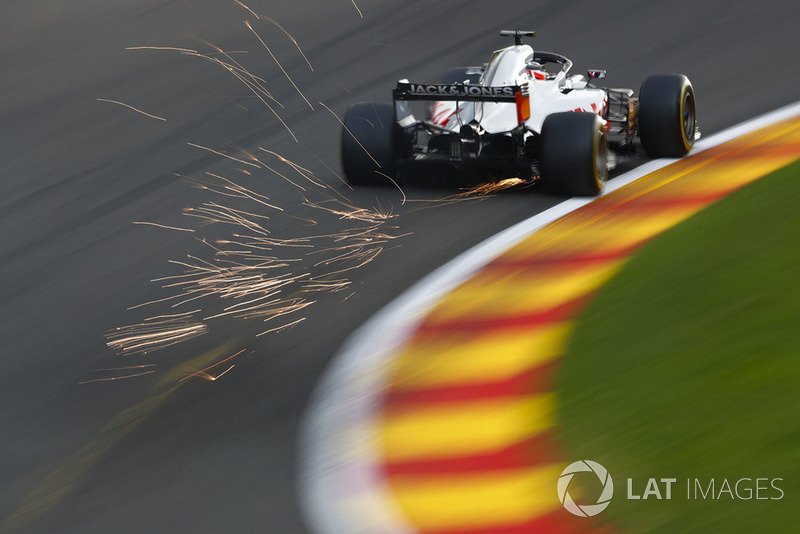 Romain Grosjean, Haas F1 Team VF-18, strikes up sparks