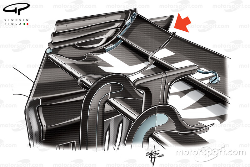 Haas VF-18 rear wing, Belgian GP