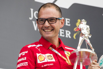 David Sanchez, Principal Aerodynamicist, Ferrari, receives the constructors trophy for Ferrari
