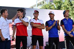 Davide Valsecchi, Sky Italia with Charles Leclerc, Alfa Romeo Sauber F1 Team, Marcus Ericsson, Alfa Romeo Sauber F1 Team, Pierre Gasly, Scuderia Toro Rosso Toro Rosso and Brendon Hartley, Scuderia Toro Rosso