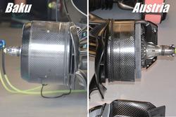 Comparaison des freins avant de la Mercedes W07 Hybrid à Bakou et en Autriche