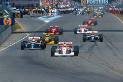 Ayrton Senna, McLaren, Alain Prost, Williams; Michael Schumacher, Benetton; Damon Hill, Williams; Gerhard Berger, Ferrari; Mika Hakkinen McLaren, Jean Alesi, Ferrari