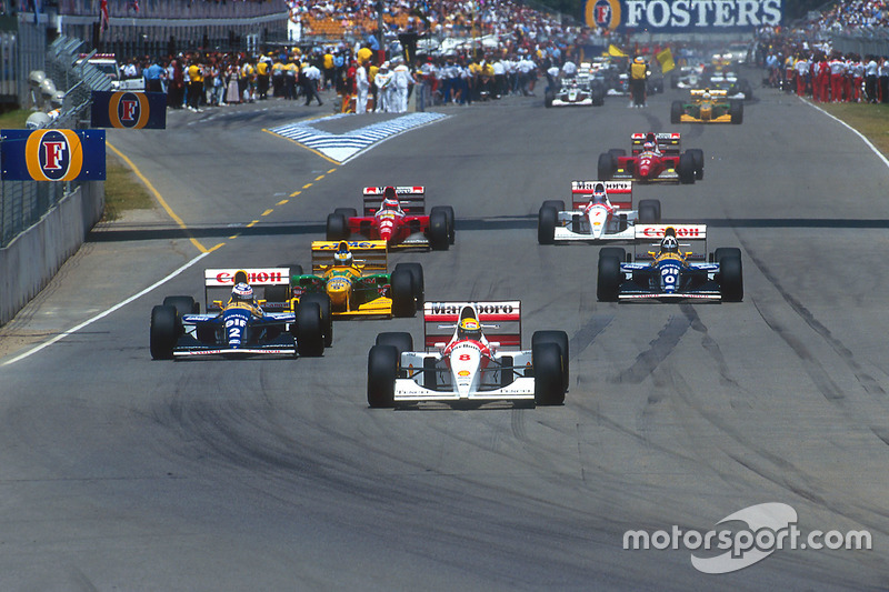 Start: Ayrton Senna, McLaren, Alain Prost, Williams; Michael Schumacher, Benetton; Damon Hill, Willi