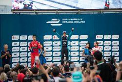 Podium: Le vainqueur Sébastien Buemi, Renault e.Dams; deuxième place Lucas di Grassi, ABT Schaeffler Audi Sport; troisième place Nick Heidfeld, Mahindra Racing